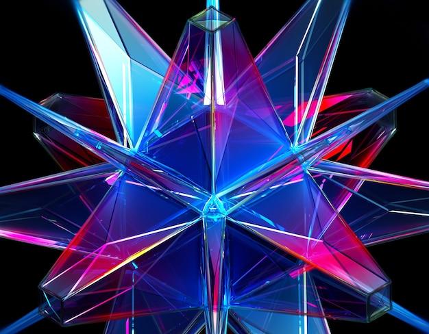 Rendu 3d De Fond Abstrait Avec Une Partie De Cristal émeraude D'énergie Extraterrestre Surréaliste En Triangle Fractal Et Motif Pyramidal En Matière Plastique Transparente Photo Premium