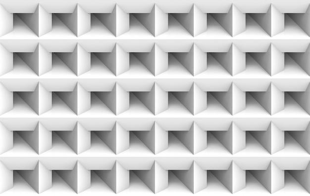 Rendu 3d. fond de mur d'art minimaliste blanc carré blanc grille. Photo Premium