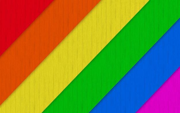 Rendu 3d. Fond De Mur De Panneaux De Bois Diagonaux Lgbt Rainbow. Photo Premium
