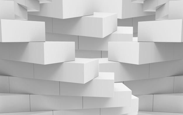 Rendu 3d. Fond De Mur De Pile De Brique De Cube Gris. Photo Premium