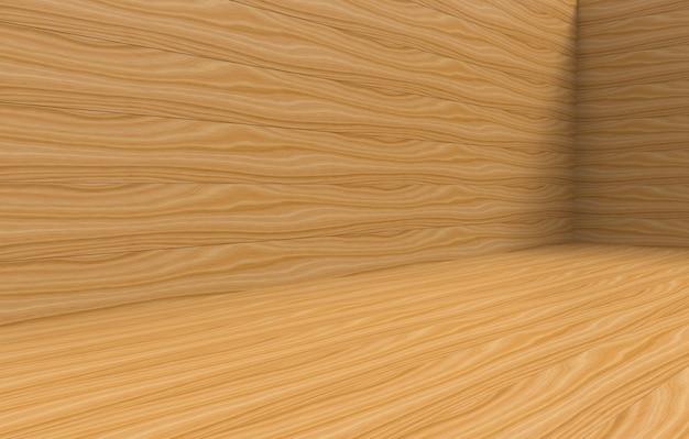 Rendu 3d. fond de mur et plancher en bois brun pour toutes les textures design. Photo Premium