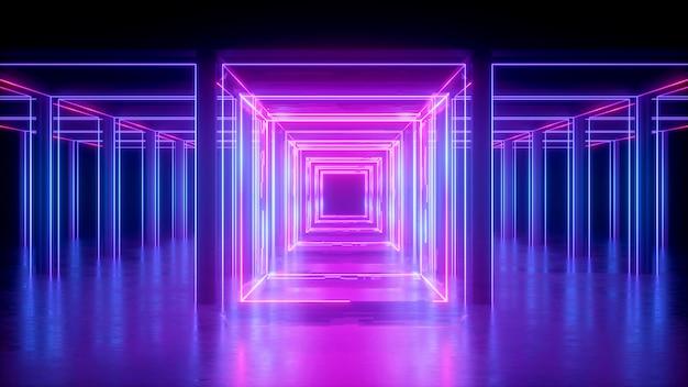 Rendu 3d, Fond Néon Abstrait, Lignes Brillantes Roses, Forme Carrée, Couloir, Lumière Ultraviolette, Espace De Réalité Virtuelle Photo Premium