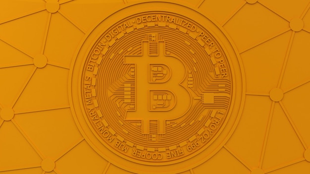 Le Rendu 3d D'un Fond Orange Avec Le Logo Bitcoin Dans Une Composition De Concept Monochromatique Photo Premium