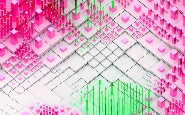 Rendu 3d De Fond De Paysage 3d Topographique Art Abstrait Avec Des Collines Surréalistes Ou Des Montagnes Basées Sur Des Boîtes De Cubes Photo Premium