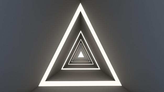 Rendu 3d De La Forme Abstraite Du Triangle En Fond De Tunnel Photo Premium