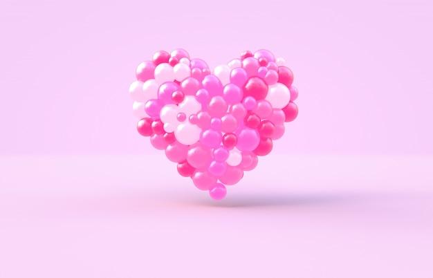 Rendu 3d. forme de coeur saint valentin avec fond de boules de bonbons roses Photo Premium