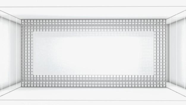 Rendu 3d De Forme Rectangle Abstraite Et éclairage Au Néon Dans La Pièce Photo Premium