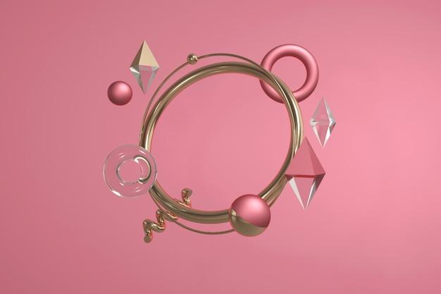 Rendu 3d De Formes Géométriques. Composition Abstraite Moderne Avec Cercles, Boules, Losange, Spirale. Photo Premium