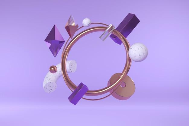 Rendu 3d De Formes Géométriques. Composition Abstraite Moderne De Formes Simples. Photo Premium