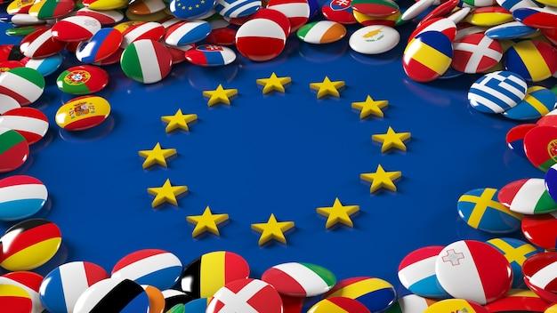 Rendu 3d D'un Grand Nombre De Boutons Brillants De Drapeaux De L'union Européenne Entourant Le Logo De L'union Européenne Photo Premium