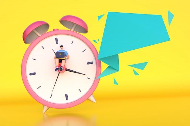 Rendu 3d de l'homme travaillant à l'heure avec un message vide. Photo Premium