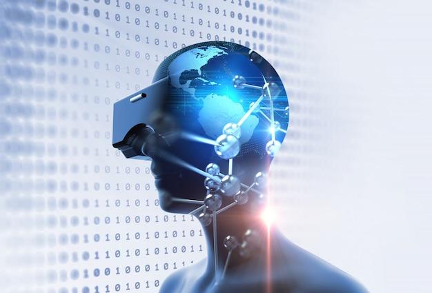 Rendu 3d d'humain virtuel en casque de réalité virtuelle sur fond de technologie futuriste Photo Premium