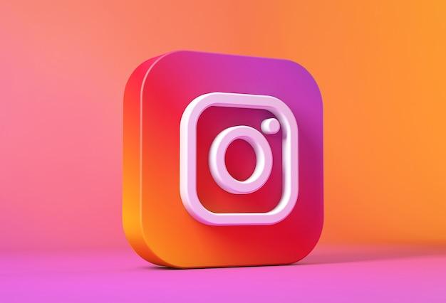 Rendu 3d De L'icône Ou Du Logo Instagram Photo Premium