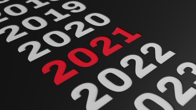 Rendu 3d D'une Illustration Simple De La Nouvelle Année 2021 Photo Premium