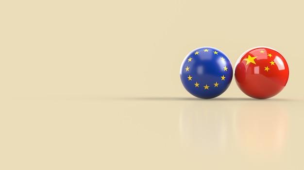 Le Rendu 3d De L'image De Balle De L'union Européenne Et Chinoise Photo Premium
