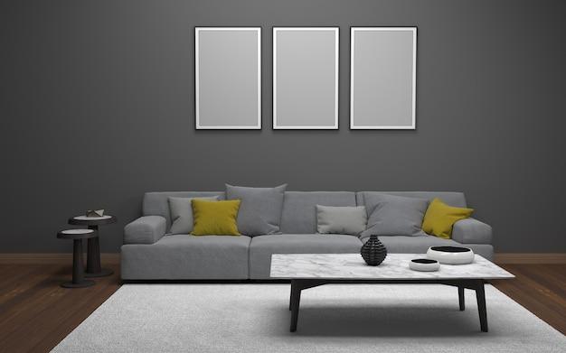 Rendu 3d de l'intérieur d'un salon moderne avec canapé - canapé et table Photo Premium