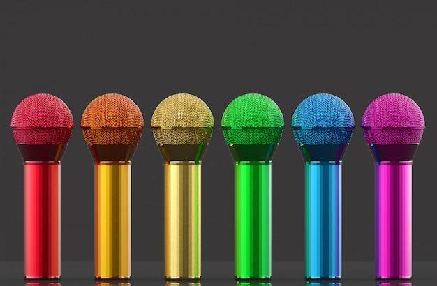 Rendu 3d. Ligne De Microphone Couleur Arc-en-ciel Lgbt Sur Mur Gris Photo Premium