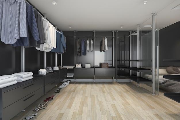 Rendu 3d Loft Sombre Promenade Dans Le Placard Et Le Salon Photo Premium