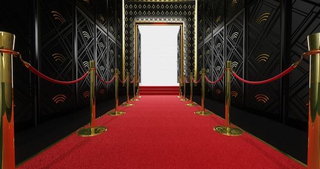 Rendu 3d d'un long tapis rouge entre des barrières de corde et un escalier au bout Photo Premium