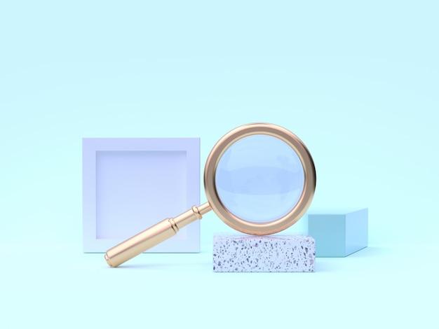 Rendu 3d loupe abstraite scène géométrique bleu-vert Photo Premium