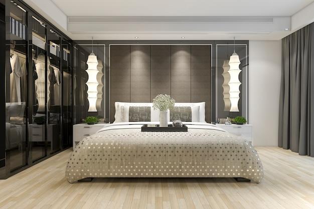 Rendu 3d luxe moderne chambre suite tv avec penderie et dressing Photo Premium