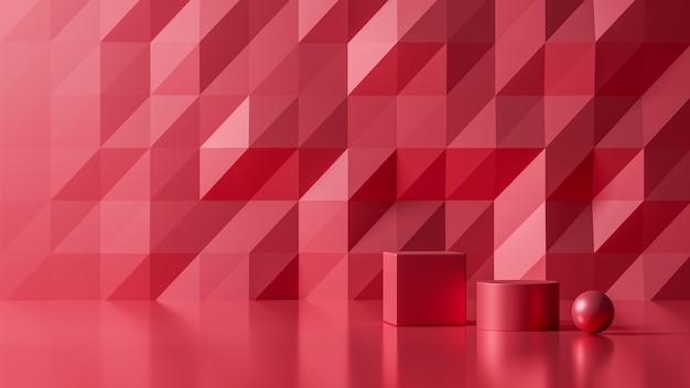 Rendu 3d Luxe Nouveau Fond Abstrait Couleur Rouge, Illustration 3d Photo Premium