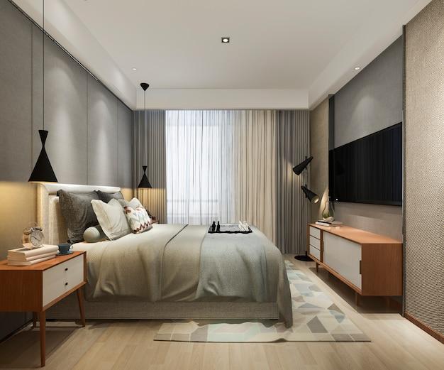 Rendu 3d Magnifique Loft Minimal Vintage Chambre Photo Premium