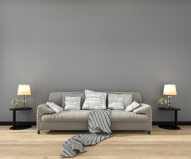 Rendu 3d maquette cadre dans le salon avec canapé Photo Premium