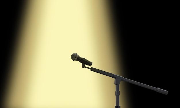 Rendu 3d. Un Microphone De Performance Avec Lumière De Scène Jaune Photo Premium