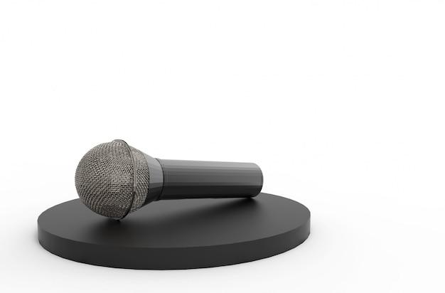 Rendu 3d. Un Microphone Sur Podium Noir Avec Copie Espace Gris Photo Premium