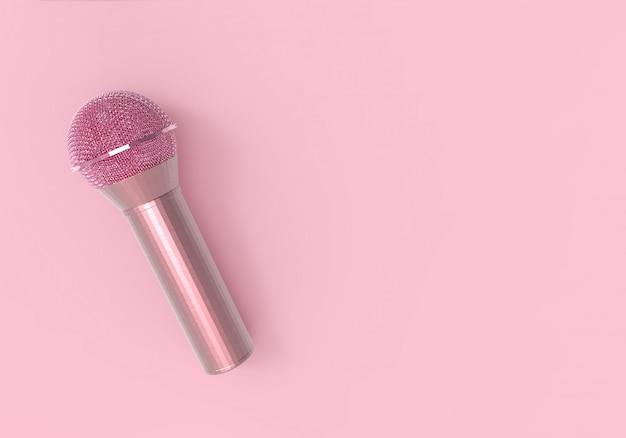 Rendu 3d. Un Microphone Rose Doux Doux Sur Rose. Photo Premium