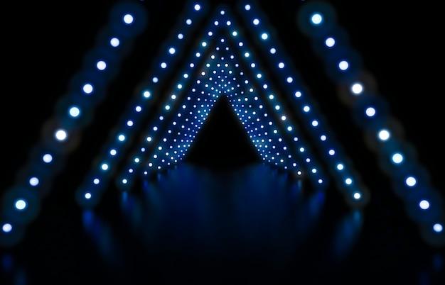 Rendu 3d. mode abstrait avec des néons bleus Photo Premium