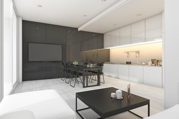 Rendu 3d moderne blanc et noir salon avec cuisine Photo Premium