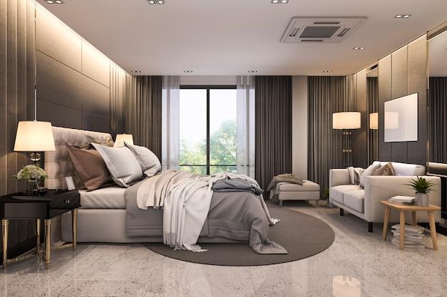 Rendu 3d moderne mezzanine luxe chambre suite avec canapé près du miroir Photo Premium