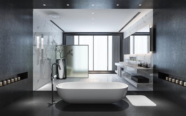 Rendu 3d moderne salle de bain en pierre noire avec dalle de luxe décor avec belle vue sur la nature depuis la fenêtre Photo Premium