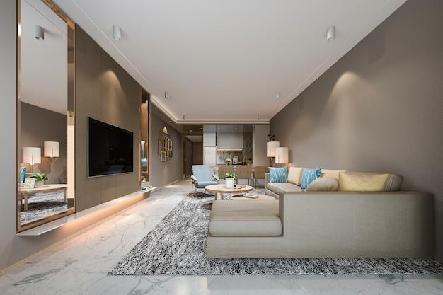 Rendu 3d moderne salle à manger et salon près de la cuisine avec un décor coloré de luxe Photo Premium
