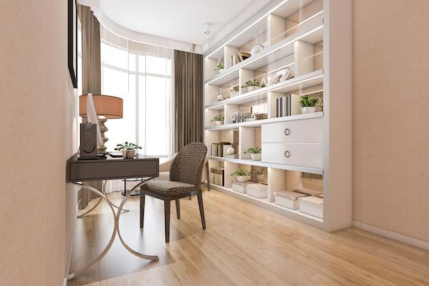 Rendu 3d Moderne Salle De Travail Minimaliste En Bois Photo Premium