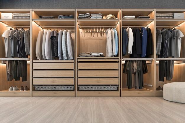 Rendu 3d moderne scandinave bois blanc promenade dans placard avec penderie près de la fenêtre Photo Premium