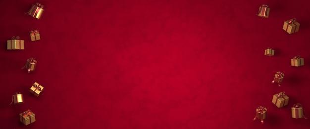 Rendu 3d Noël, Coffret Cadeau, Arbres De Noël Sur Fond Rouge Foncé Photo Premium