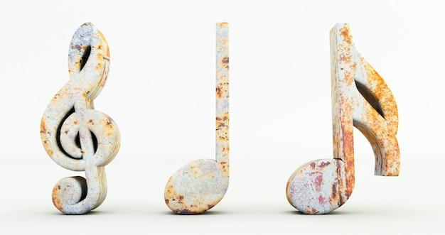 Rendu 3d De Notes De Musique Isolé Sur Fond Blanc, Symbole De Note De Musique En Métal Rouillé Photo Premium