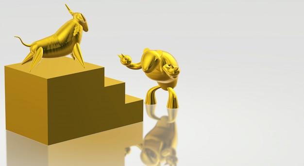 Rendu 3d d'or et d'ours contenu commercial. Photo Premium