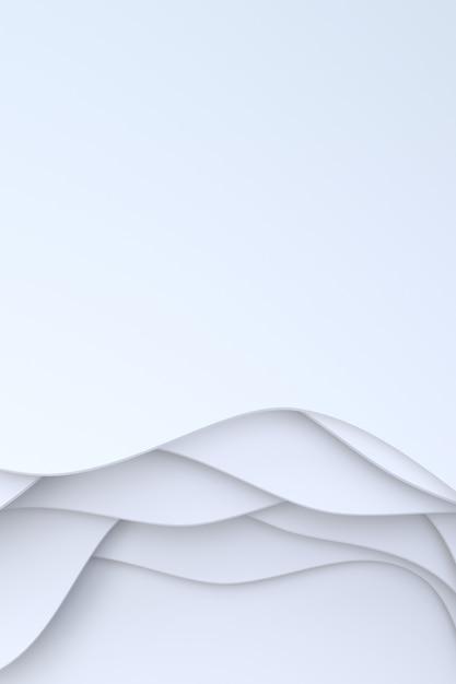 Rendu 3d, Papier Blanc Abstrait, Conception D'arrière-plan Art Pour Modèle De Site Web Ou Modèle De Présentation. Photo Premium