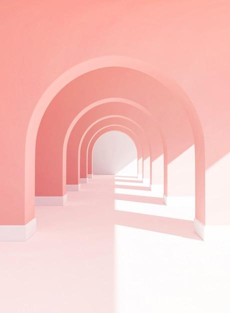 Rendu 3d de passerelle pastel, fond de couleur rose avec espace de copie de sol blanc et soleil lumière Photo Premium