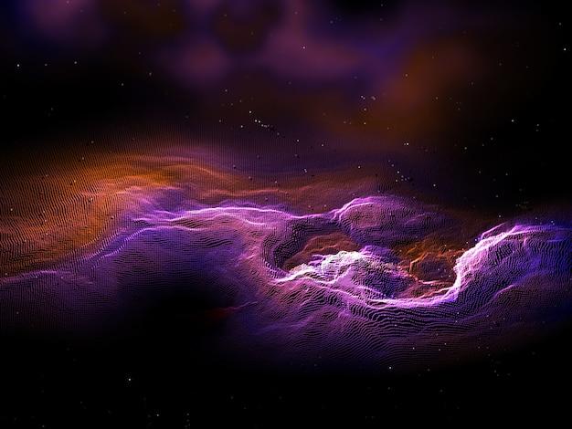 Rendu 3d D'un Paysage Abstrait De Particules Avec Effet Galaxie Photo gratuit