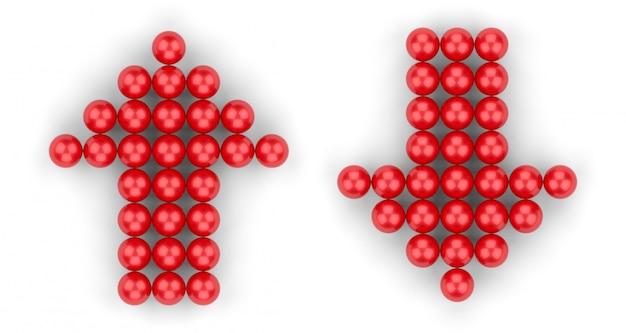 Rendu 3d. petit groupe de boule rouge en forme de flèche haut et bas sur blanc Photo Premium