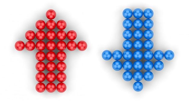 Rendu 3d. petit groupe de boule rouge en haut et bleu en forme de flèche vers le bas sur blanc Photo Premium