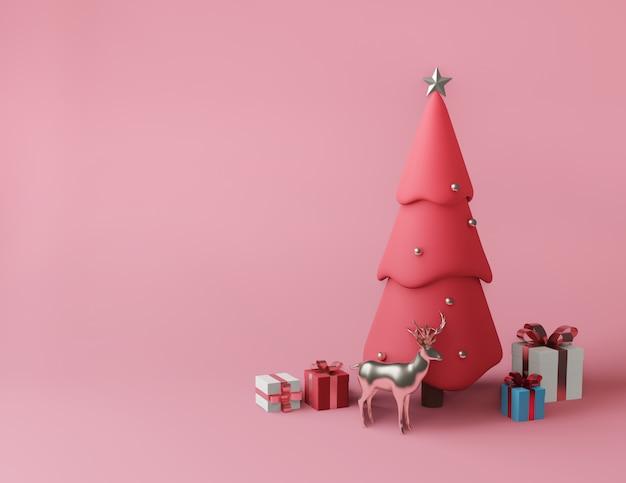 Rendu 3d petites boîtes à cadeaux et sapin de noël rose métallique Photo Premium