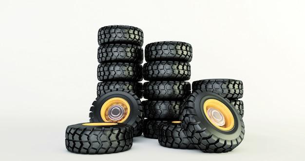 Rendu 3d de pneus de voiture isolés sur blanc Photo Premium