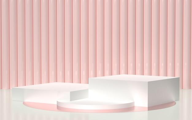 Rendu 3d - podium blanc avec fond rose clair pour l'affichage des produits Photo Premium