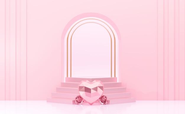Rendu 3d Porte Rose Avec Podium Et Roses Coeur Photo Premium